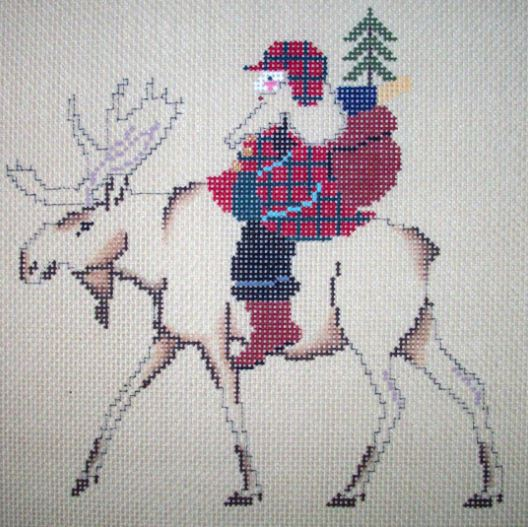 click here to view larger image of Santa on a Moose  (hand painted canvases)