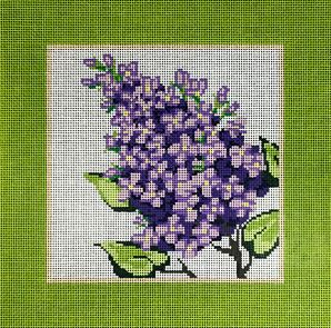click here to view larger image of Lilac w/Green Border (hand painted canvases)