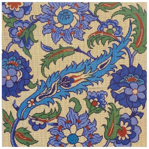 click here to view larger image of Paisley Tapestry Aqua/Rust (hand painted canvases)