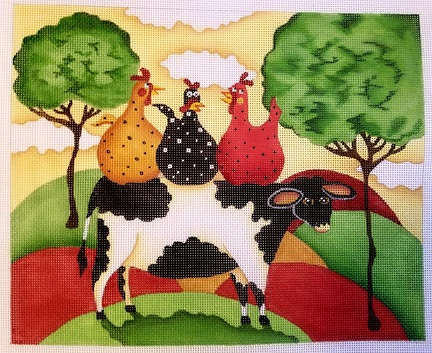 click here to view larger image of 3 Gossips and a Cow (hand painted canvases)