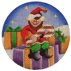 click here to view larger image of Candy Cane Elf (hand painted canvases)