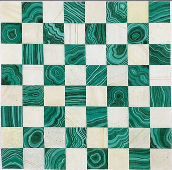 click here to view larger image of Chess/Checkers Board - Malachite/Ivory      (hand painted canvases 2)