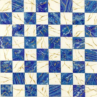 click here to view larger image of Chess/Checkers Board - Lapis Lazuli/Gold-laced Crystal Quartz    (hand painted canvases 2)