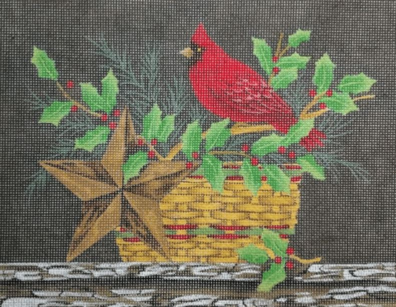 click here to view larger image of Cardinal and Holly Still Life (hand painted canvases)
