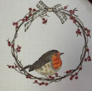 click here to view larger image of Bird on Berry Wreath (hand painted canvases)