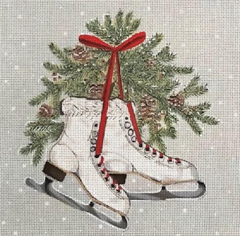 click here to view larger image of Christmas Skates (hand painted canvases)