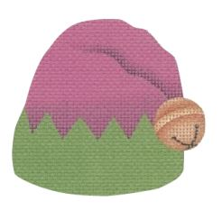 click here to view larger image of Elf Hat Pink/Green (hand painted canvases)