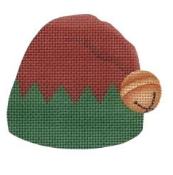 click here to view larger image of Elf Hat Red/Green (hand painted canvases)