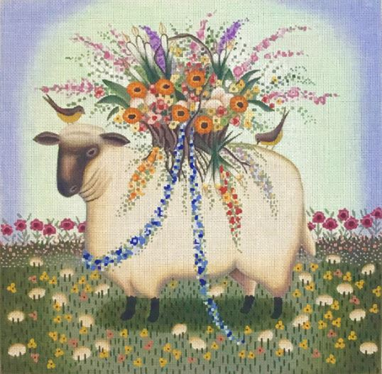 click here to view larger image of Lamb and Eggs (hand painted canvases)
