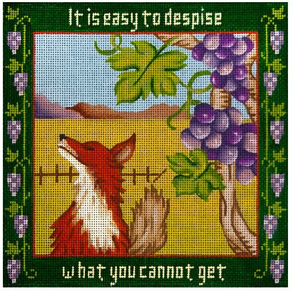click here to view larger image of Fox and the Grapes, The - Aesops Fables (hand painted canvases)