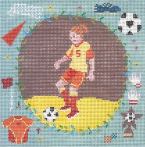 click here to view larger image of Soccer Girl (hand painted canvases)