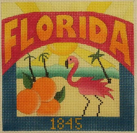 click here to view larger image of Postcard - Florida   (hand painted canvases)