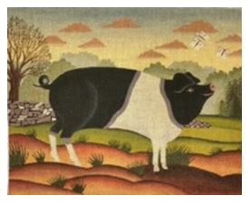 click here to view larger image of Country Pig w Butterflies (hand painted canvases)