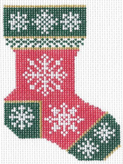 click here to view larger image of Christmas Snowflake Sock (hand painted canvases)
