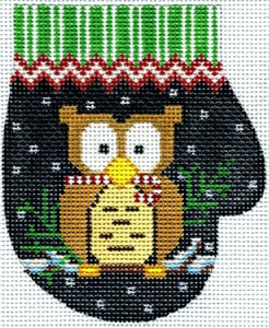 click here to view larger image of Christmas Owl Mitten  (hand painted canvases)