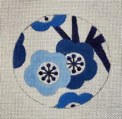 click here to view larger image of Blue Flower Round Ornament (hand painted canvases)