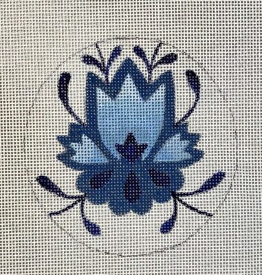 click here to view larger image of Blue Emblem Round Ornament (hand painted canvases)
