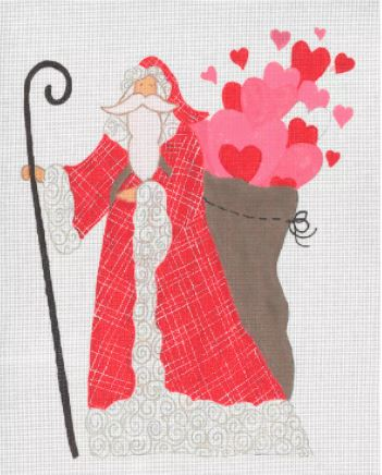 click here to view larger image of Bag of Hearts Santa, The (hand painted canvases)