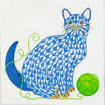 click here to view larger image of Fishnet Kitten - Blue w/Green Yarn (hand painted canvases 2)