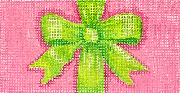 click here to view larger image of Pink/Green Bow Clutch Insert (hand painted canvases 2)