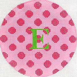 click here to view larger image of Pink w/Fuchsia Polka Dots Grass Green Letter  (hand painted canvases 2)