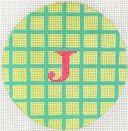 click here to view larger image of Celadon w/Turquoise Grid Watermelon Letter  (hand painted canvases 2)