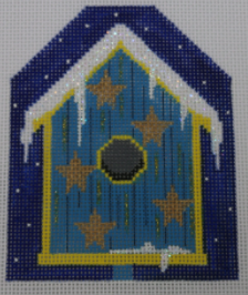 click here to view larger image of Blue Stars Bird House Ornament (hand painted canvases)