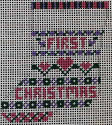 click here to view larger image of 1st Christmas Hearts Mini Sock (hand painted canvases)