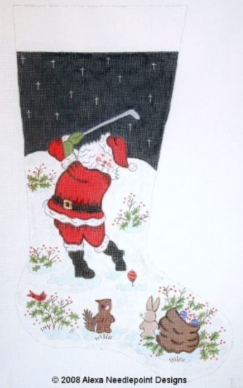 click here to view larger image of Christmas Stocking - Golfing Santa (hand painted canvases)