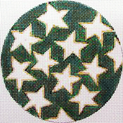 click here to view larger image of Stars on Green (hand painted canvases)