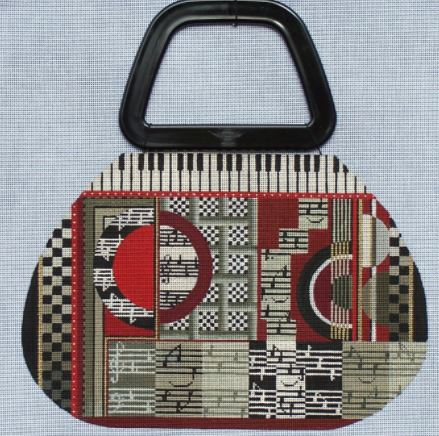 click here to view larger image of Deco Music Purse - Purse Handle Included (hand painted canvases)