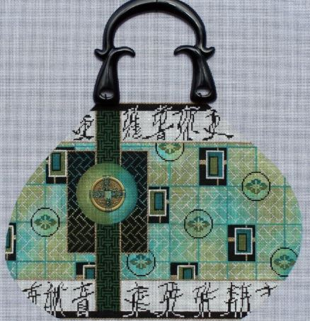 click here to view larger image of Asian Jewel Purse - Purse Handle Included (hand painted canvases)