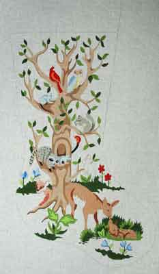 click here to view larger image of Animal Tree Stocking (hand painted canvases)