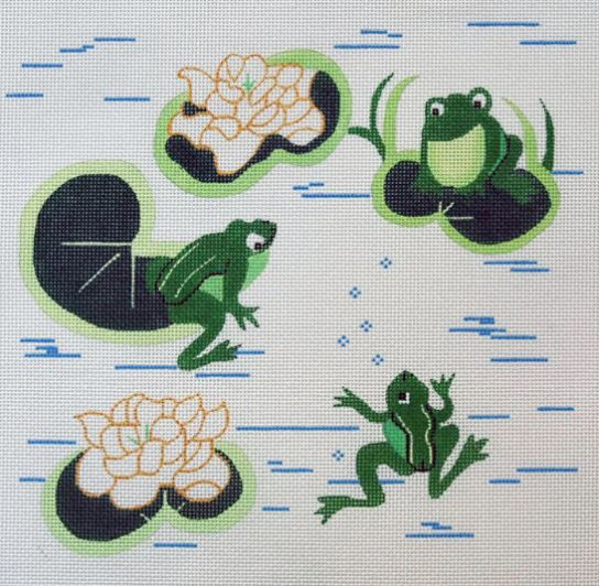 click here to view larger image of Frogs on a Lily Pad (hand painted canvases)
