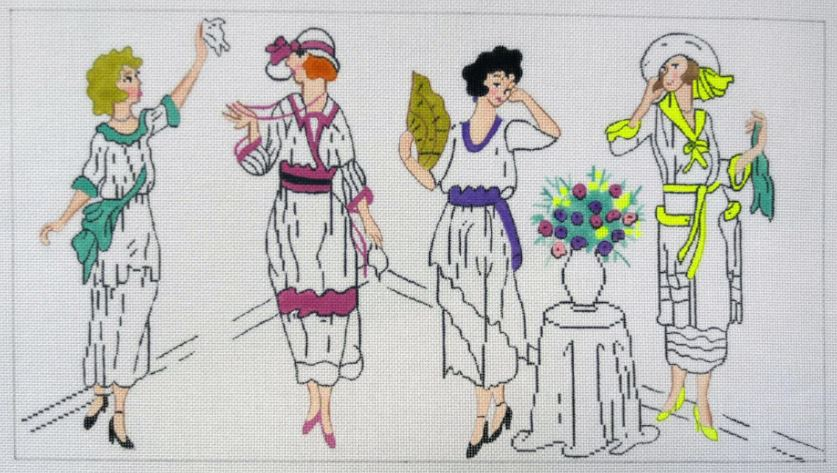 click here to view larger image of Four Flappers (hand painted canvases)