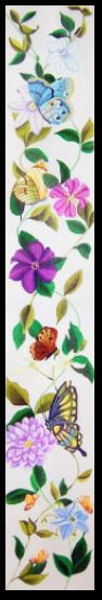 click here to view larger image of Butterflies and Clematis Bell Pull (hand painted canvases)