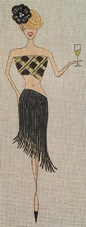 click here to view larger image of Black Straw Skirt Girl (hand painted canvases)