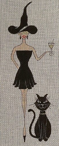 click here to view larger image of Black Cat Witch (hand painted canvases)