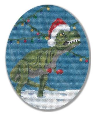 click here to view larger image of Holiday Dino (hand painted canvases)