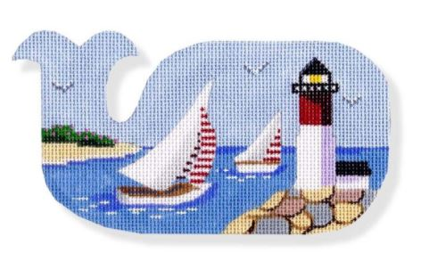 click here to view larger image of Sailboats and Lighthouse-Whale Shape (hand painted canvases)