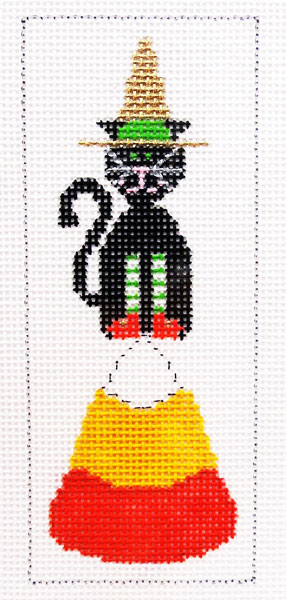 click here to view larger image of Candy Corn Cat (hand painted canvases)