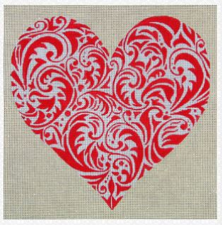 click here to view larger image of Scrolled Heart (hand painted canvases)