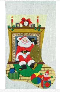 click here to view larger image of Santa in Fireplace Stocking (hand painted canvases)