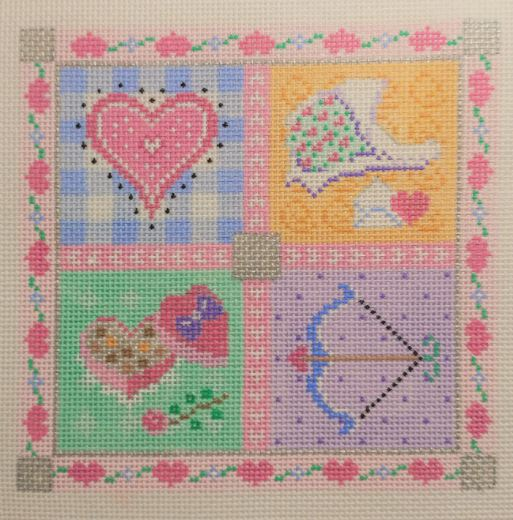 click here to view larger image of All Hearts - Medium Seasonal Square (hand painted canvases)