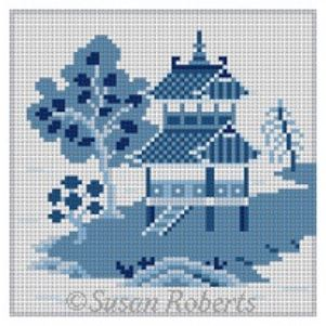 click here to view larger image of Asian Islands Coaster - Large House Blue/White (hand painted canvases)