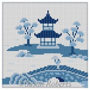 click here to view larger image of Asian Islands Coaster - Bridge Blue/White (hand painted canvases)