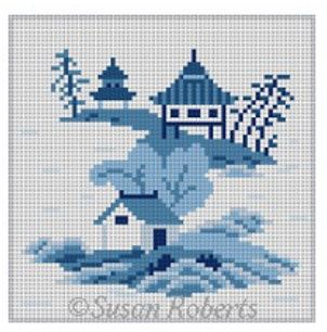 click here to view larger image of Asian Islands Coaster - 3 Houses Blue/White (hand painted canvases)
