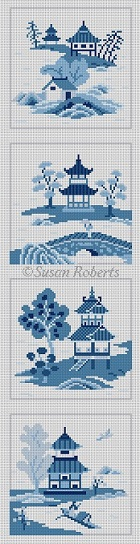 click here to view larger image of Asian Islands 4 Coasters Blue/White (hand painted canvases)