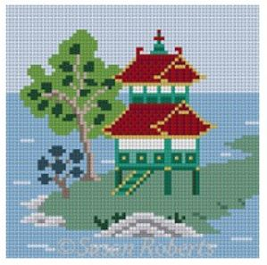 click here to view larger image of Asian Islands Coaster - Large House Color (hand painted canvases)
