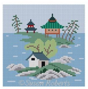 click here to view larger image of Asian Islands Coaster - 3 Houses Color (hand painted canvases)
